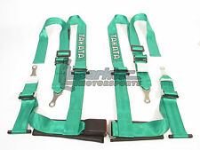 "Takata Drift II Bolt-On Seat Belt Safety Harness Green 2"" Shoulder/Lap 4-Point"