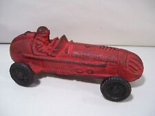 VINTAGE CAST IRON RACE CAR WITH DRIVER, RED CAR