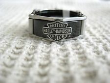 NIB Men's HARLEY-DAVIDSON Black Stainless Steel Band B&S RING Size 12 Jewelry
