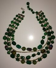 VINTAGE Green Faceted Lucite Gold Beaded Necklace Choker graduated 5 tiers