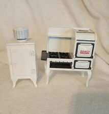 Dollhouse (Set) Miniature Metal Vintage White Roper Stove and Refrigerator