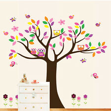 Owl Flower Tree Removable Vinyl Decal Wall Sticker Mural Kid Room Nursery Decor