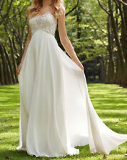 New HOT High quality  Chiffon white wedding dress Bride Gown Stock size 18