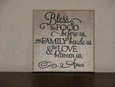 Bless the food before us the family beside us, Decorative tile, saying, sign