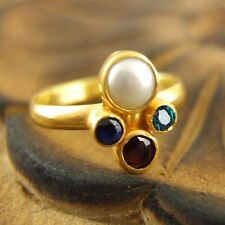 Handmade RoundBand Pearl Ruby Sapphire Blue Topaz Ring Gold Over Sterling Silver