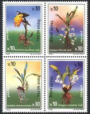 Nepal 1994 Orchids/Flowers/Plants/Nature/Orchid 4v set blk (n24896)