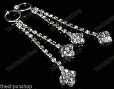 "CLIP ON 3"" long RHINESTONE diamante crystal EARRINGS"