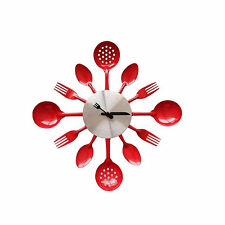 14 Inch Stainless Steel Housewares Cutlery Wall Clock DIY Decor Clock