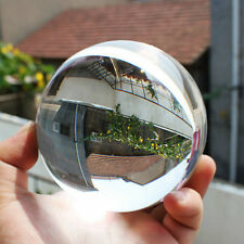 80mm Clear Round Glass Artificial Crystal Healing Ball Sphere Decoration LA