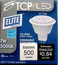 TCP 7 Watt 12V MR16 Bi-Pin GU5.3 Base 3000K Dimmable LED Flood Light Bulb
