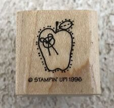 Stampin' Up! Apple Bow Button Stitched 1996 Single Rubber Stamp Wood Mounted