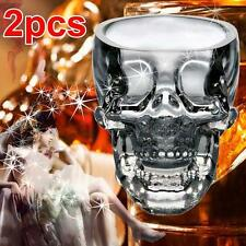2pc GLASS CRYSTAL Skull Head Vodka Shot Whiskey Wine Bar Glass Drink Decanter DH