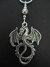 "A LOVELY TIBETAN SILVER  DRAGON THEMED  NECKLACE ON 20"" SNAKE CHAIN. NEW."