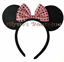 Minnie Mouse Ears Headband Black Plush With Pink Bow Birthday Party Favors Cute
