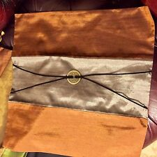 PACK 2 SILK CUSHION COVERS BRAND NEW THAI SILK COPPER GREY BARGAIN