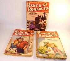3 Vintage RANCH ROMANCES PULP Magazine March & April 1946 Western Love Stories