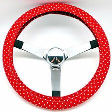 Handmade Steering Wheel Cover Red and White Polka Dots Rockabilly
