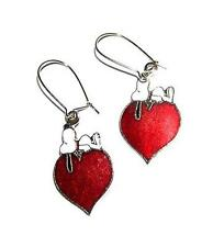EARRINGS Snoopy & Heart Wire Red Cloisonne PEANUTS CARTOONS