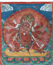 SUPERB LARGE ANTIQUE TIBETAN MONGOLIAN BUDDHIST TANTRIC THANGKA THANKA MONGOLIA
