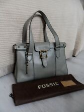 Fossil Vintage Revival VRV Greyish Blue Leather Satchel Shoulder Bag Key ZB5410