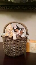 TWO CATS KTTTENS IN A BASKET CERAMIC FIGURINE