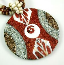 CORAL, SEA STONE, CONE SHELL, SHIVA EYE necklace ;AA071