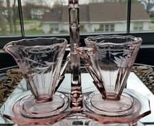 Vintage Pink Depression Glass Cream & Sugar Bowl  w/Caddy Etched Cut Cambridge