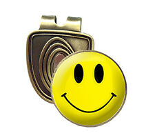YELLOW SMILEY FUSION CAP CLIP & MAGNETIC GOLF BALL MARKER IN BRONZE