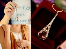 Womens Paris Eiffel Tower Transparent Crystal Ball Pendant Long Necklace Fine