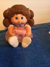 VINTAGE CABBAGE PATCH KIDS DOLL RUBBER BANK BROWN HAIR BLUE EYES 1983