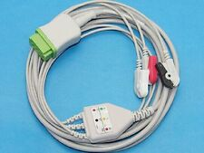 One-Piece GE Marquette 3 Lead ECG Cable AHA Pinch Compatible Dash 3000/4000
