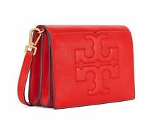 NWT $395 TORY BURCH Bombe T Combo Crossbody Shoulder Bag Poppy RED Gold FREESHIP