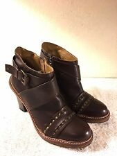 Anthropologie Schuler & Son's Dark Brown Buckled Ankle Boots Size 10 B