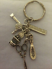 I LOVE HAIRDRESSING Antique Silver tone Key ring holder birthday gift present