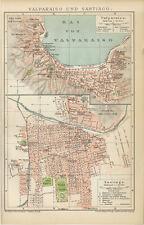Valparaiso und Santiago Chile Stadtplan El Puerto Zollwache Brockhaus 0303