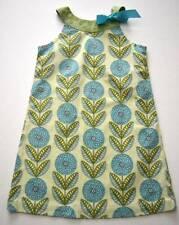 Girls JUST DUCKY Sz 7 Green Blue Flower Print Ribbon Tie Summer Shift Dress