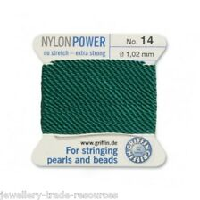 GREEN NYLON POWER SILKY STRING THREAD 1.02mm STRINGING PEARLS & BEADS GRIFFIN 14