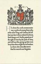 REPLICA WORLD WAR ONE MEMORIAL SCROLL WITH INSCIPTION OF RECIPIENTS NAME