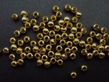 400 Gold Plated Smooth Metal Spacer Beads Round 3mm