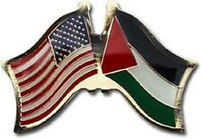 USA - PALESTINE  FRIENDSHIP CROSSED FLAGS LAPEL PIN - NEW - COUNTRY PIN