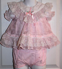 Vintage Baby Girls 6/9 Months Pink And White Lace Dress Frilly Easter