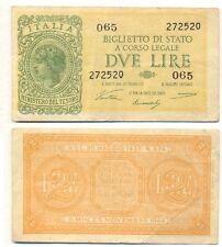 ERRORE:BANCONOTA 2 LIRE LUOGOTENENZA 1944 - STAMPATO AL LARGO DEL CENTRO - LEGGI