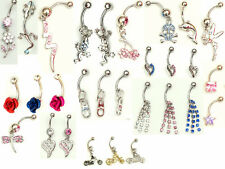 10 x dangle and gem navel belly bars, great selection, silver surgical steel 14g