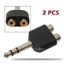 2pcs 6.35mm 1/4 inch Male Mono Plug to 2 x RCA Female Audio Adapter Connector