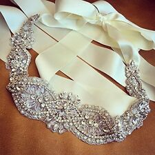 Crystal and Rhinestone Beaded Applique Bridal Belt Wedding Sash Applique,Boxed