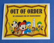 DISNEY PARKS OUT OF ORDER STICKER MICKEY PLUTO GOOFY DONALD GUEST MACHINES SIGN