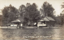 Chalets Lac Vert ST. ALPHONSE Quebec Canada 1938 Carte Photo Véritable RPPC