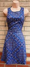 NEW LOOK BLUE PAISLEY BAROQUE FLIPPY A LINE FLARE CURVY FIT TEA VTG DRESS 6 XS