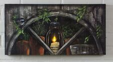 Lighted Picture Herbs By Candlelight Arch Window 12196 NEW