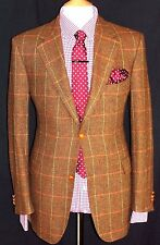 LUXURY MENS BURBERRY BROWN HUNTING/ SHOOTING TWEED BOX CHECK SUIT JACKET 40R